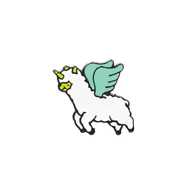 漫画の人格ファッションブローチエナメルピン動物ホーン馬翼アルパカピン金属バッジデニムバッグ帽子シャツ女性子供ギフト