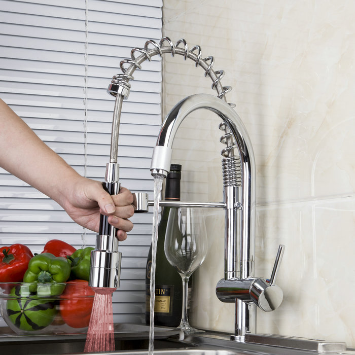 Double Spout Kitchen Faucets Chrome Single Hole Sink Taps LED ...