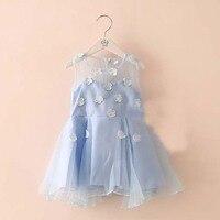 Summer Floral Pattern Dress Little Girls Mesh Cute Above Knee Dress Sleeveless A line Dress 5928