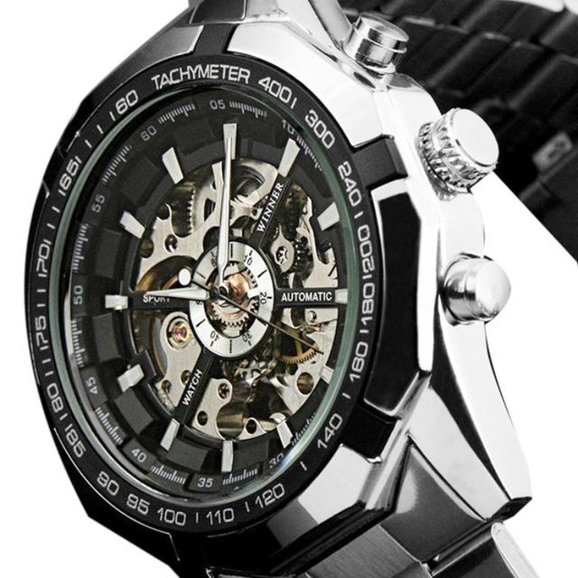 Excelente Qualidade de Moda Homens Relógio de Aço Marca Top Design Elegante Clássico Mecânica Auto Vento Esqueleto Vestido de Relógio de Pulso Presente