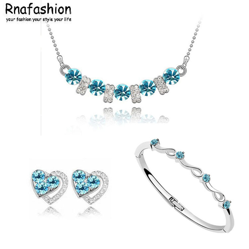 Gentle Jewelry Sets Fashion Accessories Heart Necklaces Earrings Bracelet With Full Austrian Crystal For Women Collier Femme Lima Peru