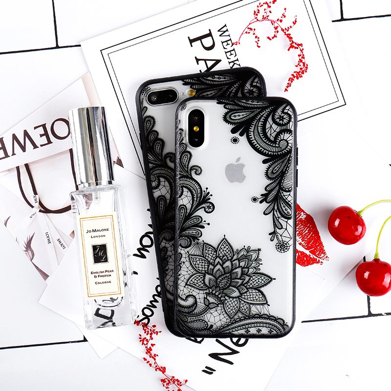 MOLIKE Phone Cover For iPhone 7 Case Luxury Sexy Lace Floral Henna Case For iPhone 6 6s 7 Plus case For iPhone 7 8 7/8 Plus X