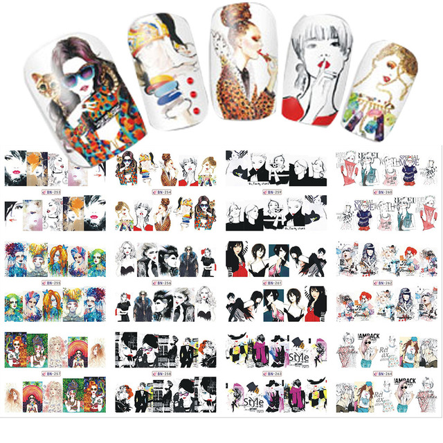 1 sets 12 designs water transfer cool women mixed styles nail 1 sets 12 designs water transfer cool women mixed styles nail sticker for full cover nails prinsesfo Gallery