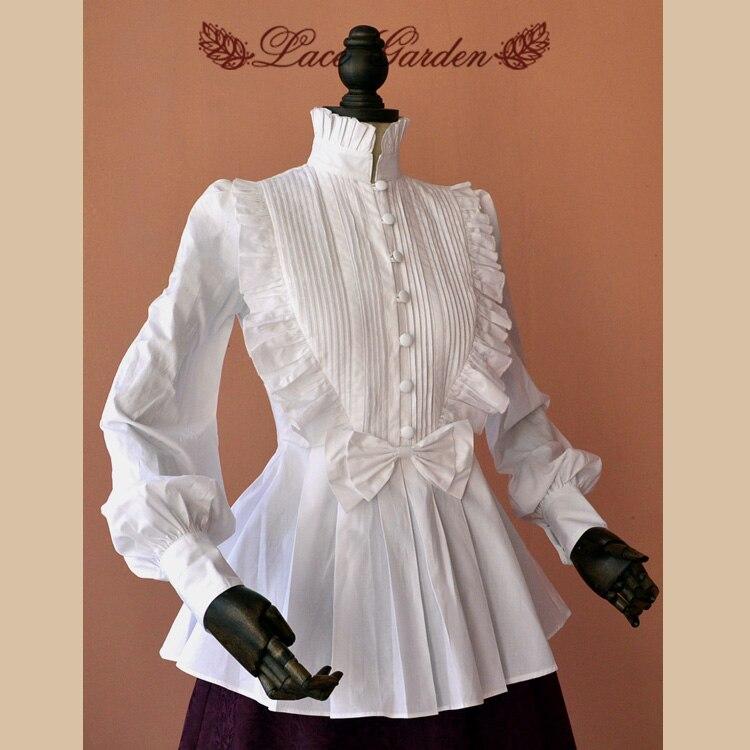 White Vintage Long Lantern Sleeve Cotton High Collar Women's Blouse/Shirt with Cascading Ruffles