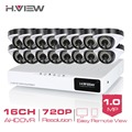 H.View 16CH 720P AHD CCTV DVR System HD 16PCS CCTV Cameras 1.0 Megapixels Enhanced IR Security Camera with 36 LEDs No HDD