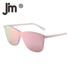 JM Wholesale 10pcs/lot Mirrored Rimless Integrated Mirror Polycarbonate Lens Sunglasses Women Men One Piece Frameless