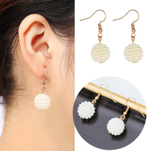1pair Wholesale Lots Fashion Charm Round Imitation Pearls Bead Statement серьги женские Dangle Earring for women