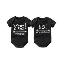 Baby Twin Gifts Romper YES! Were twins NO! not identical Set of 2 Matching Bodysuits Clothing 0-12M