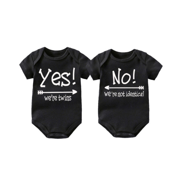 f0bdb2730915b US $11.39 40% OFF|Culbutomind Set of 2 Matching Baby Bodysuits Twins Baby  Clothing Baby Body Twins YES! We're twins NO! We're not identical 0 12M-in  ...