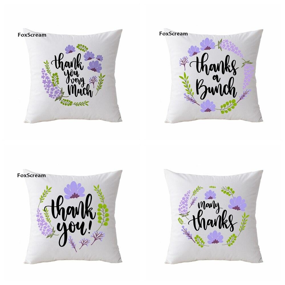 Lavender Printed Cushion Cover For Chair Purple Flower Pattern Throw Pillow case Velvet Cushion Cover Floral Pillowcase 45x45cm