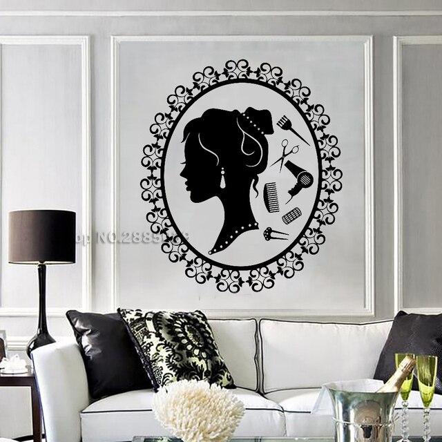 Fille Decal De Coiffure Vinyle Stickers Muraux Beauté Spa Salon De ...