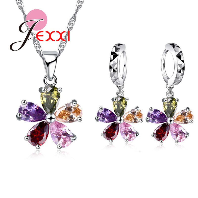 JEXXI 925 Sterling Silver Colorful Cubic Zircon Pendant Necklace Earrings Set For Women Fashion Flower Bridal