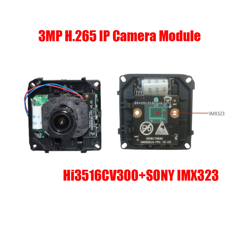 Free Shipping h.265 sony imx 323 CMOS 3MP IP camera module HD IP Camera board CCTV IP Camera IP CAM free shipping diy hd ip camera module 1080p 3518ev200 f22 2mp cmos ip camera board include 3 6mm ir cut cable camera module