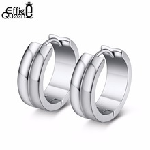 Effie Queen Silver Color Hoop Earrings for Female Men High Quality Stainless Steel Circle 20mm Earings Fashion Jewelry DGTE91-S effie queen 100