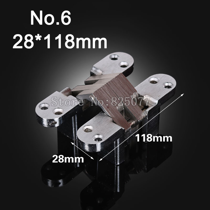 1PCS Hidden Hinges Size 28x118mm Bearing 50KG Invisible Concealed Cross Door Hinge Stainless Steel Hinge For Folding Door KF1063