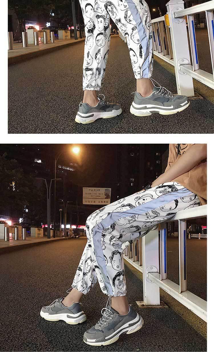 HOUZHOU Reflective Harem Gothic Pants Women Hip Hop Streetwear Ankle Length Trousers Plus Size Mid Loose Pencil Pantalon Female 8