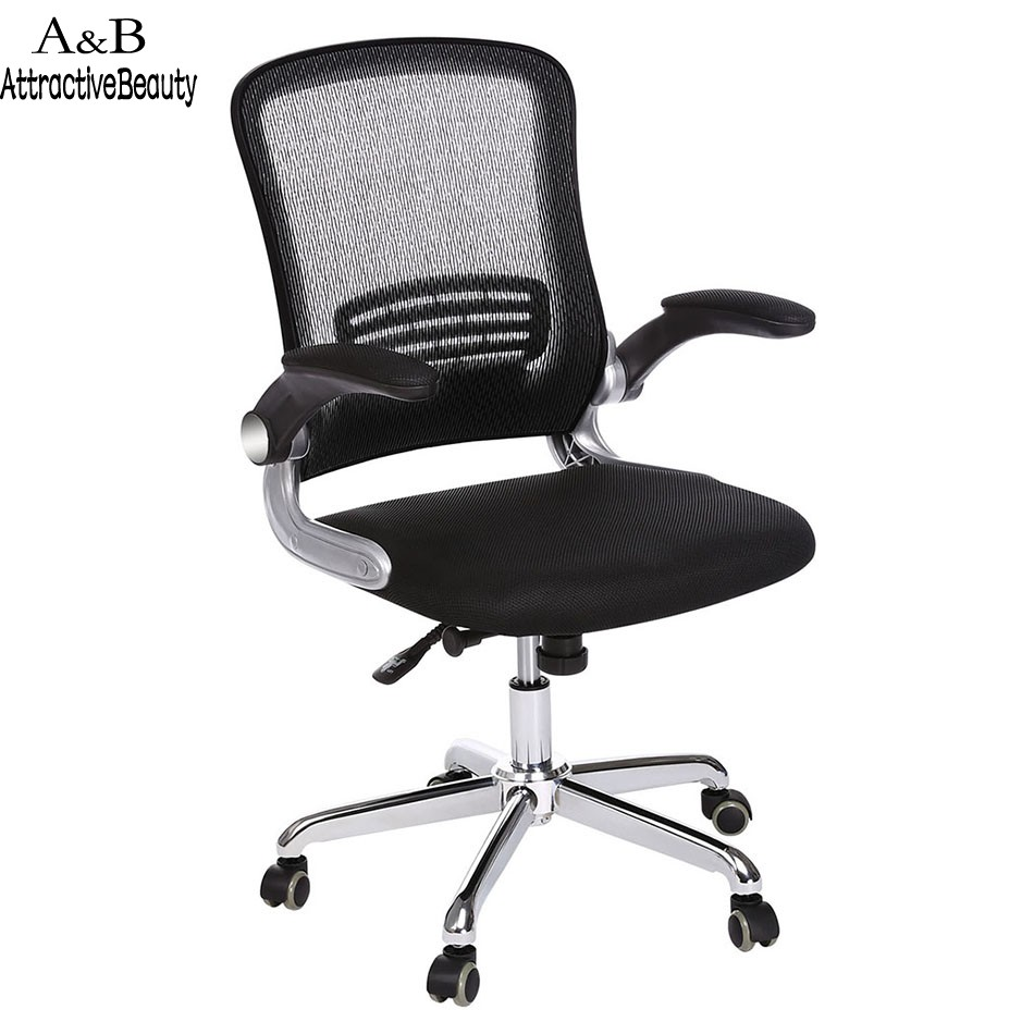 Ancheer Black Mesh Adjustable Home Office Chair Stool with Armrest Swivel Computer Chair Task Office Furniture недорого