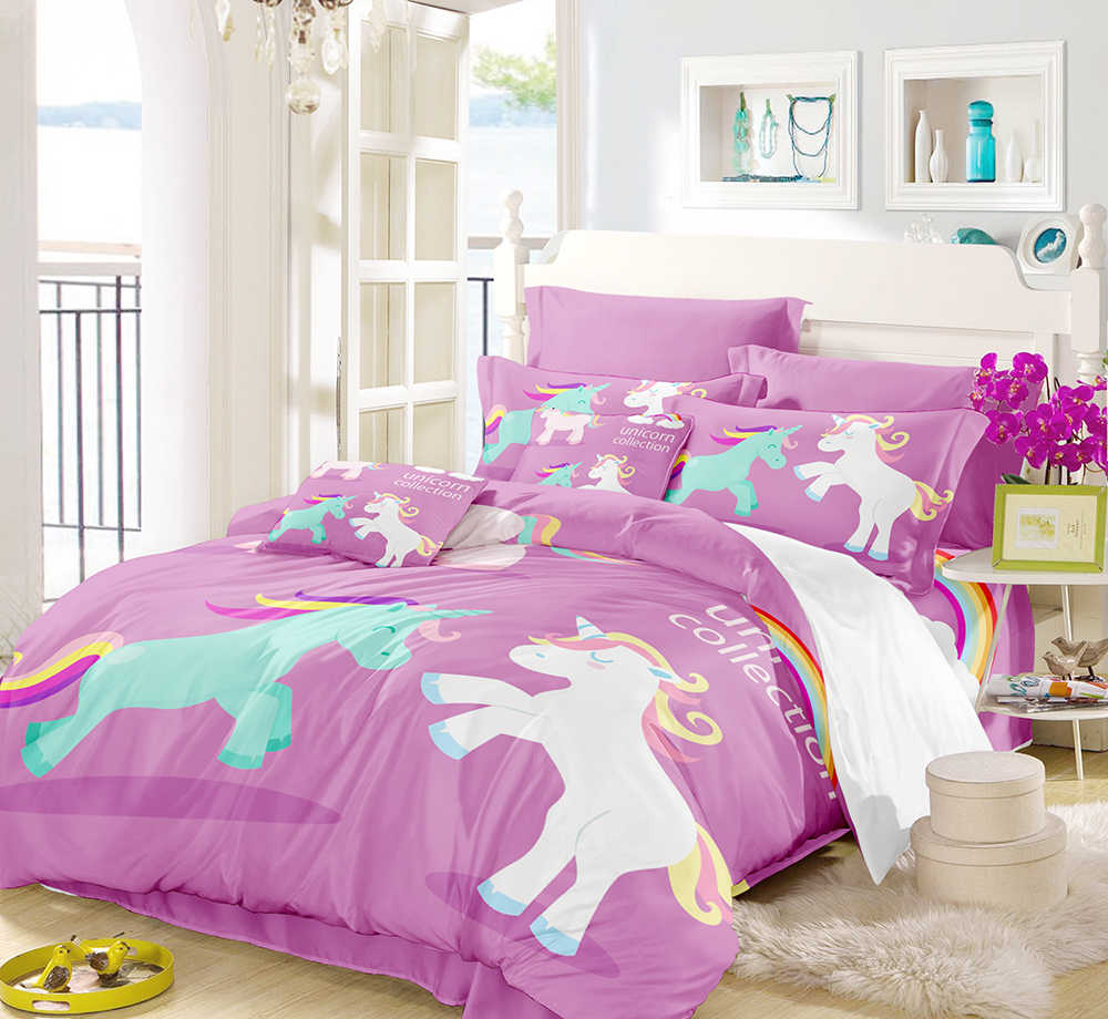 3D Digital Printing Watercolor Hand Drawn Floral Sleeping Rainbow Unicorn Bedding Set 100% Microfiber Pink