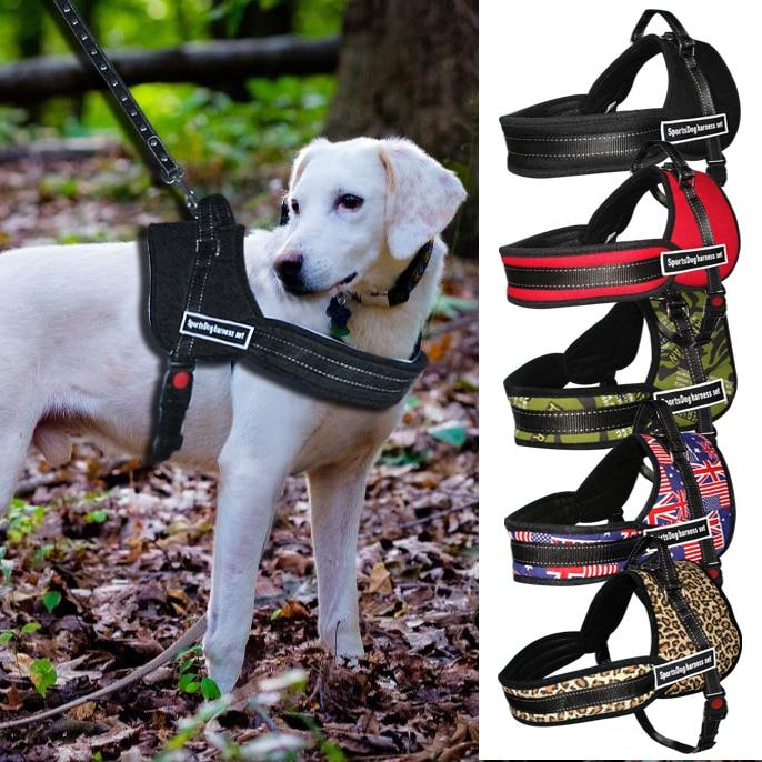 Nylon arnés del perro No tirar perros arnés Control rápido servicio mascotas chaleco para la formación medio trabajo grande perros Pitbull Husky