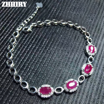 Bracelet Natural Red Ruby Gemstone Genuine Solid 925 Sterling Silver Wome ZHHIRY