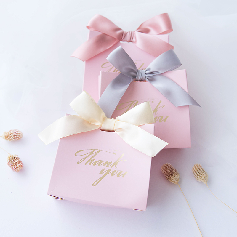 2019 New Spring Sweet lovely Candy box Thank you Paper boxes Gift box Kraft Favor Box With bow Wedding Souvenir Gifts 60pcs-in Party Favors from Home & Garden    1
