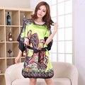Nuevo Verde de Las Mujeres Chinas de Seda Rayón Camisón Impreso Flor Vestido Túnica Vestido de Verano Salón de la ropa pijamas Un Tamaño TS001