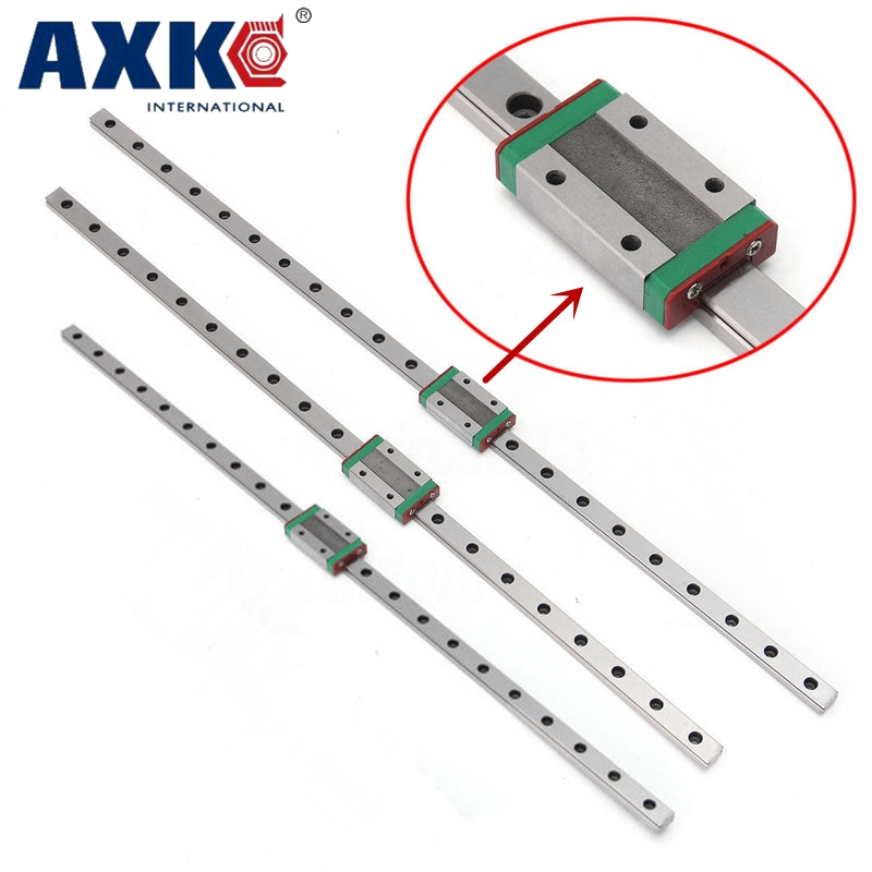 Kossel Mini MGN9 9mm miniature linear guide MR9 linear rail way + MGN9C linear carriage for CNC X Y Z Axis kossel pro miniature 7mm linear slide 2pcs mgn7 450mm rail 2pcs mgn7h carriage for x y z axies 3d printer parts