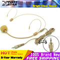 3.5mm Plug Connector Screw Thread Lock Beige Condenser HeadWorn Earhook Headset Mic For Wireless Microphone Bodypack Transmitter