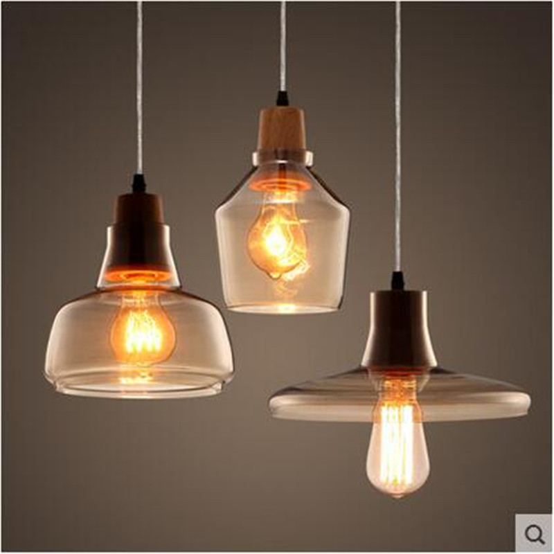 Modern Creative Handmade Europe Amber Glass Wood Led E27 Pendant Light for Restaurant Dining Room Bar Living Room AC80-265V 1510 цена