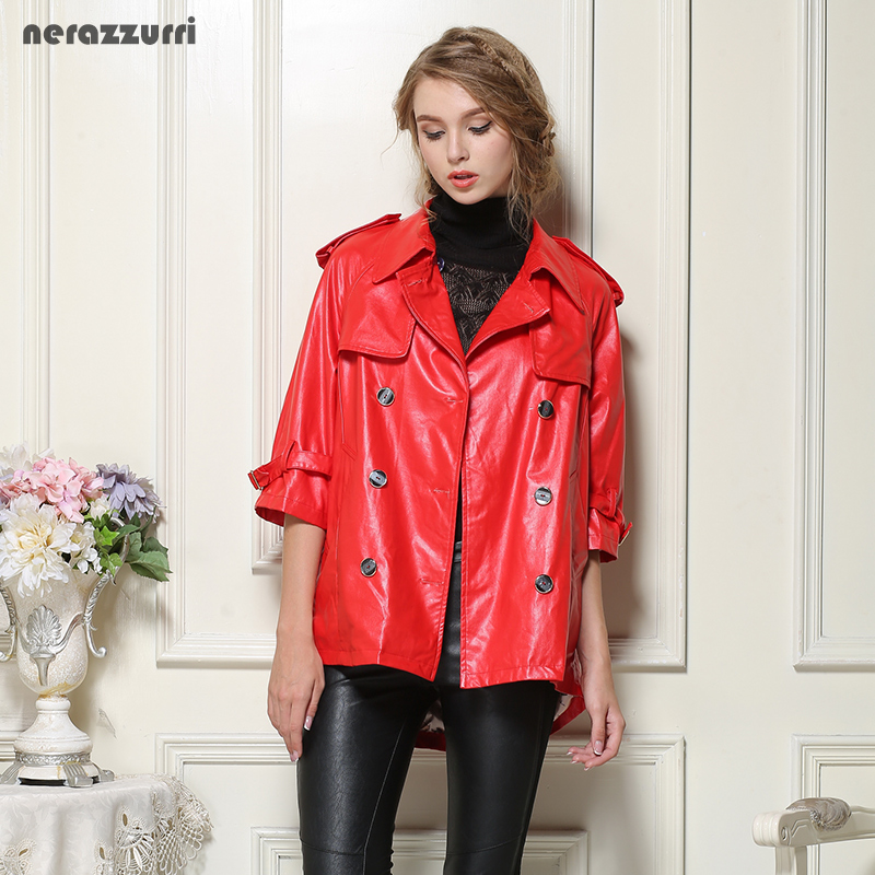 Nerazzurri Faux   leather   jackets women plus size 4xl 5xl 6xl 7xl red black gray blue female pu jacket Double Breasted long Coat