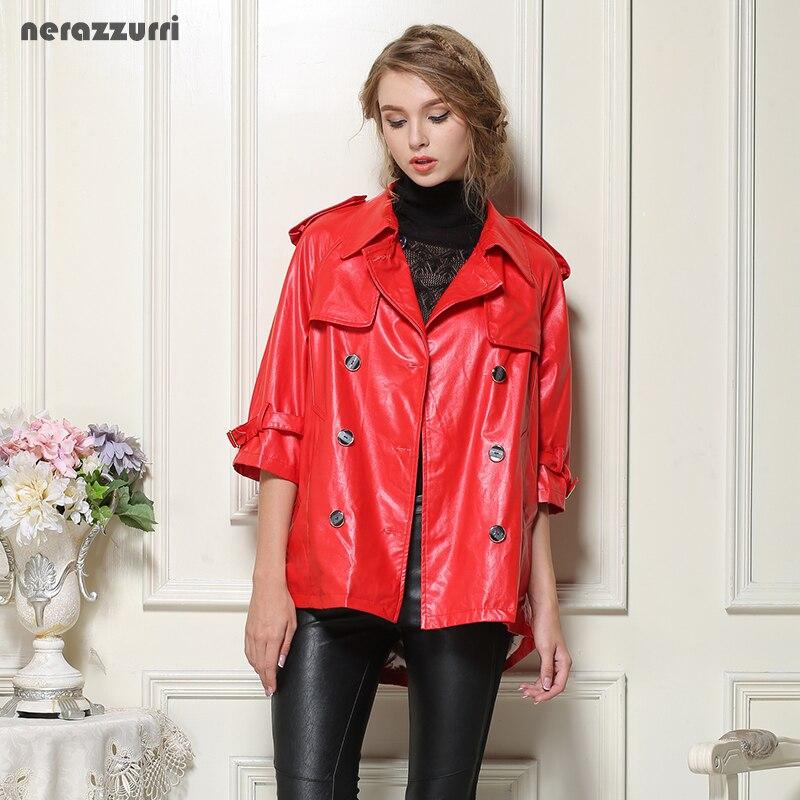 ZuverläSsig Nerazzurri Faux Leder Jacken Frauen Plus Größe 4xl 5xl 6xl 7xl Rot Schwarz Grau Blau Weibliche Pu Jacke Zweireiher Lange Mantel Profitieren Sie Klein