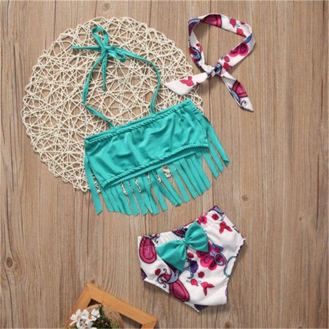 2017 conception chaude enfants bébé fille Tankini Bikini Costume gland maillot de bain Costume Bikinis vert