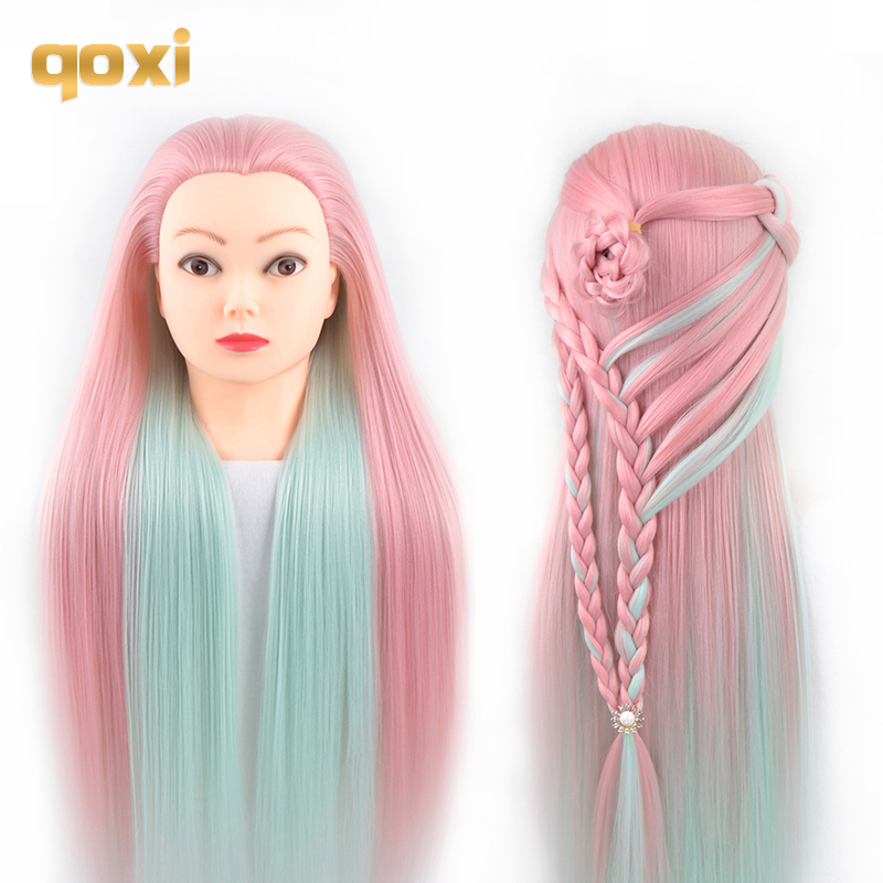 Qoxi Professional training heads with long thick hairs practice Hairdressing mannequin dolls hair Styling maniqui tete for sale image