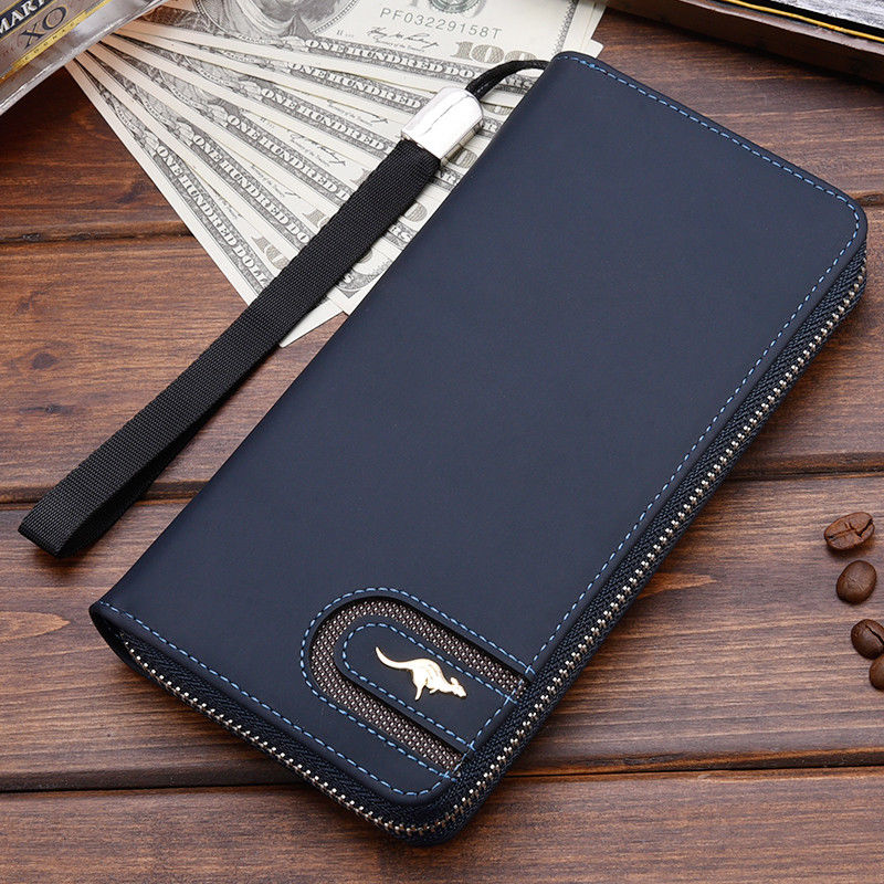 Men/'s Leather Wallet Bifold ID Card Holder Purse Checkbook Long Clutch Billfold