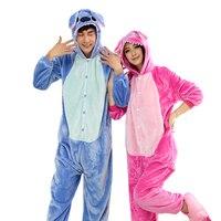 Winter Flannel Pajama Sets Women Pijama Blue Pink Stitch Onesies For Adults Couples Animal Pajamas Cartoon