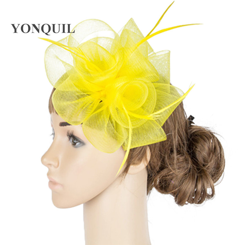 Crinoline material make for women wedding fascinators hat party heapiece church occasion headear feather hair accessories MYQ041