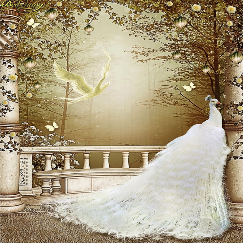 Beibehang Custom Photo Wallpaper Large Mural Noble White Peacock 3D Wall Background Wall Papers Home Decor Papel De Parede 3d