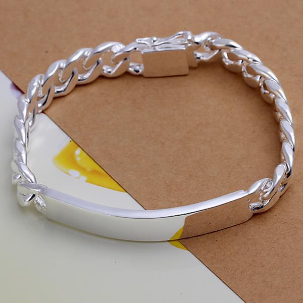Lostpiece Fashion Men S 925 Sterling Silver Id Bracelet Curb Chain