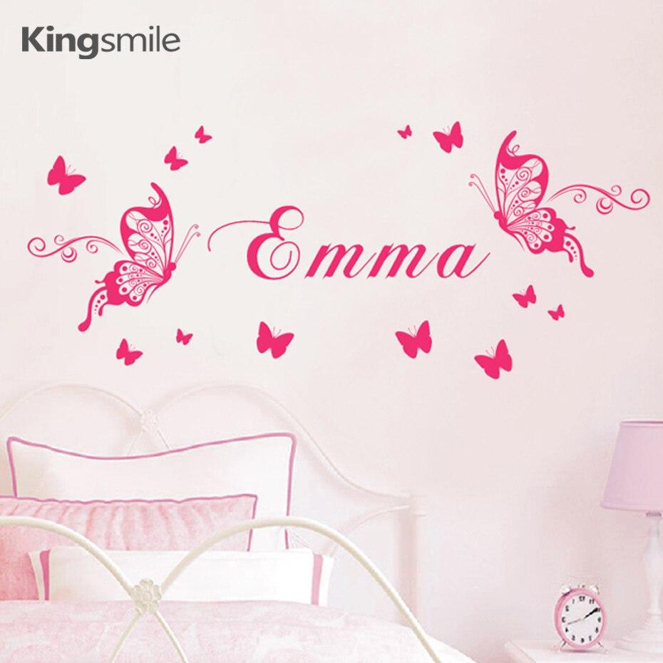 Бабочки имя стикеры обои для дома винил детские наклейки на стены декор искусства бабочка бабочки фотообои наклейки на стену обои украшени...