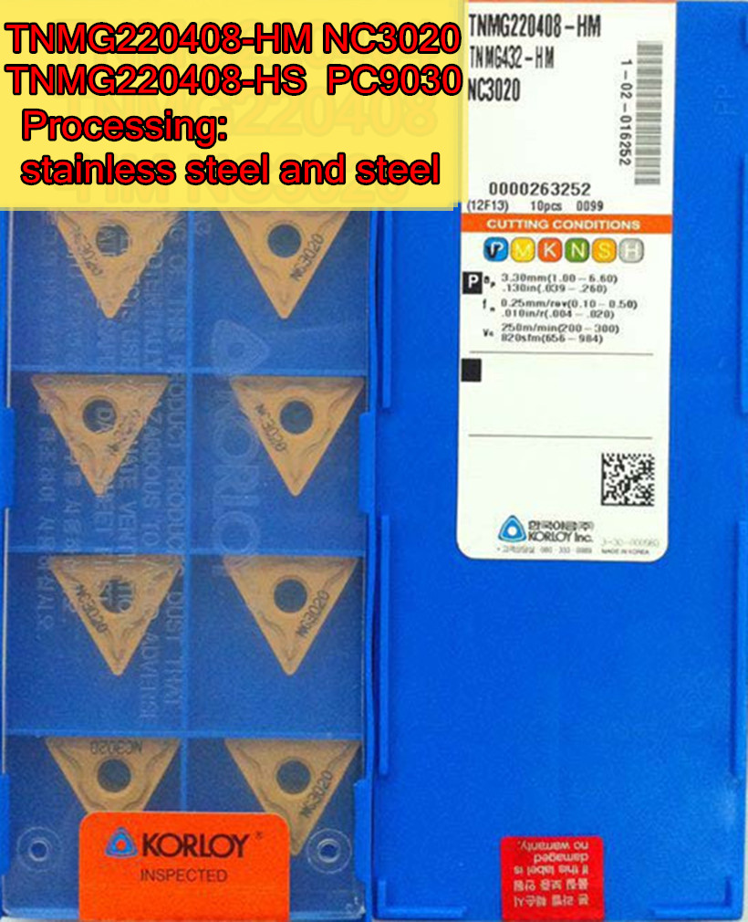 TNMG220408 HM NC3020 HS PC9030 10pcs set KORLOY CNC carbide insert Processing steel Free shipping