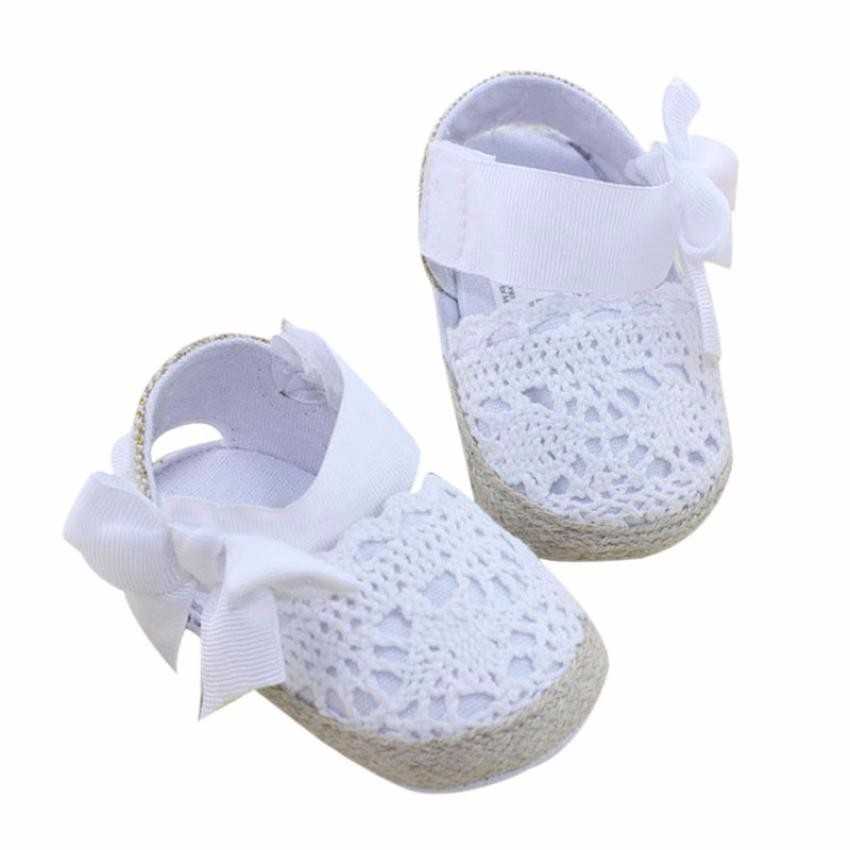 Knitted Infant Baby Girl Shoes Toddler Princess First Walkers Bowknot Lacing Up Shoes Sapatos Feminino