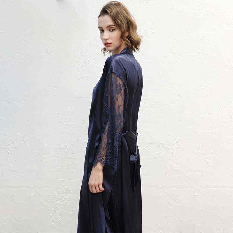 JULY'S SONG Модный женский халат комплект из искусственного шелка Горячая весна сексуальные кружевные ночные рубашки женские пижамы платье женские пижамы халат