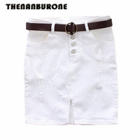 THENANBURONE Good Quality Woman White Denim Skirts Womens 2017 Jean Skirts Holes Womens Sexy Office Front
