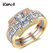 Kinel luxury Zircon Engagement Ring Sets For Women Bridal Wedding Jewelry Top Shiny Square CZ Stone Classic Finger Rings