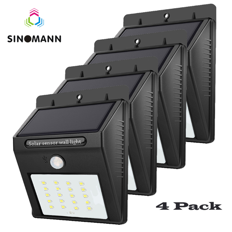 4 pcs led solar powered luz pir sensor de movimento recarregavel 20 led solar lampada