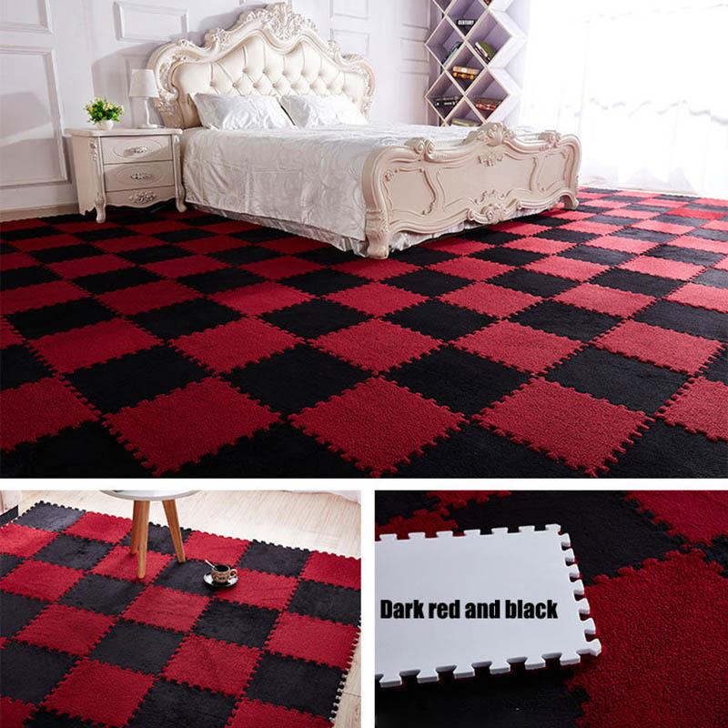 HTB18FtgwWAoBKNjSZSyq6yHAVXaA 10Pcs/1Set 30*30*1cm EVA Plush Puzzle play mats Foam Shaggy Velvet Carpet Decorative Kids Room for Crawling Play Toys 9-Colors