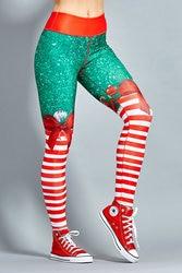 2018 New Hot Christmas Printed Leggings Sexy Clubwear Skinny Slim Red Striped Bow Women Leggings 3