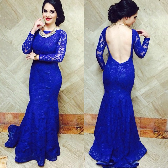 Royal Blue Long Sleeve Prom Dress Photo Album - Reikian