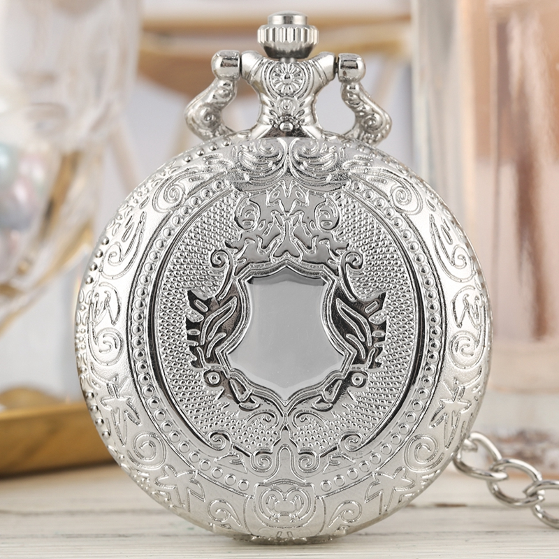 Luxury Silver Shield Crown Pattern Quartz Pocket Watch Fashion Necklace Pendant Chain Jewelry Gift Steampunk Clock For Men Women