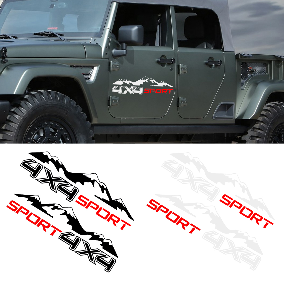 DWCX 2Pcs Car DIY Graphic Vinyl <font><b>4X4</b></font> Mountain <font><b>Stickers</b></font> Decal Decor Waterproof For <font><b>Off</b></font> <font><b>Road</b></font> Truck SUV Pickup image